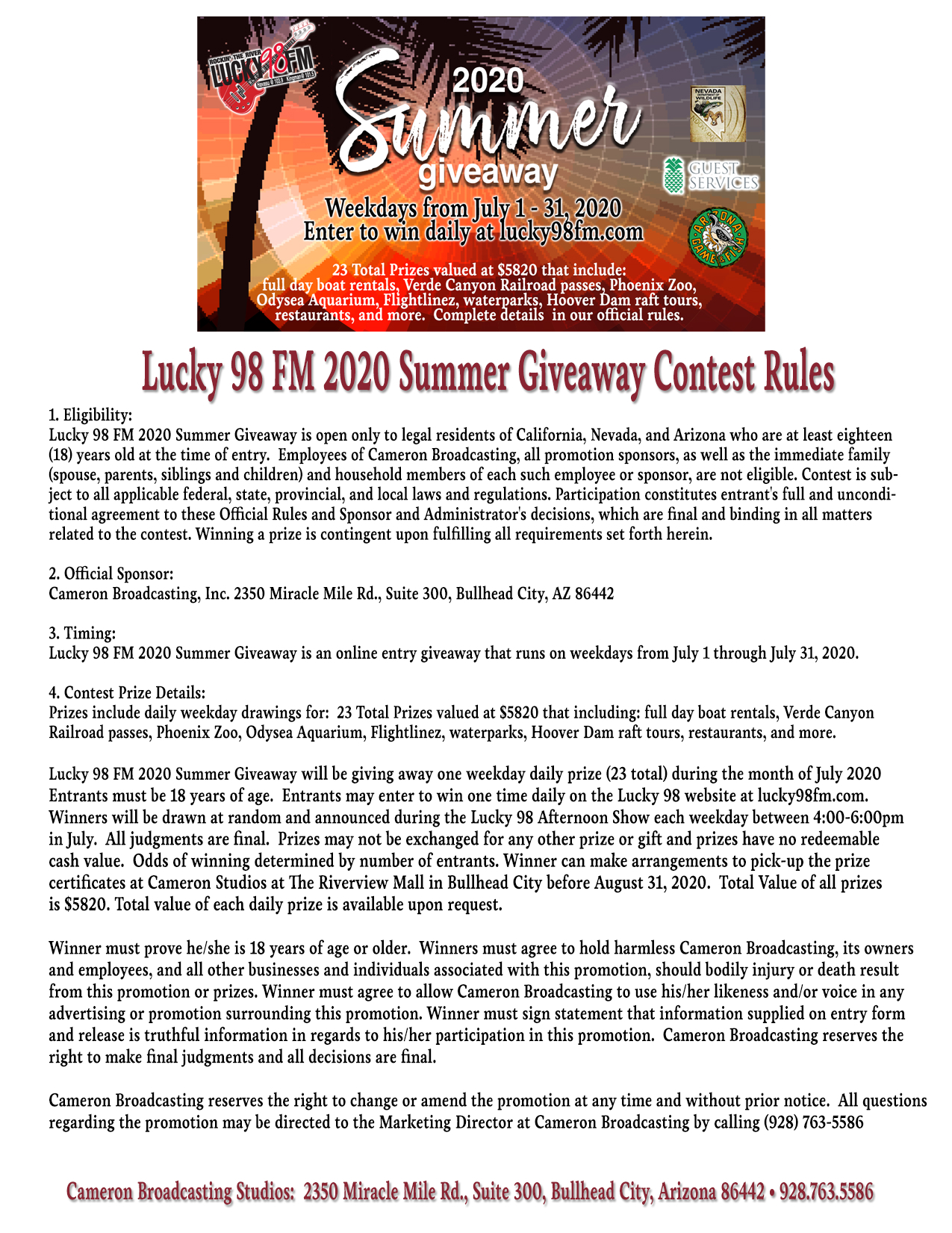 Lucky 98 FM 2020 Summer Giveaway Contest Rules